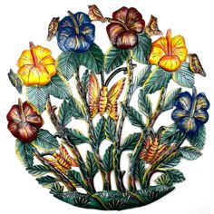 Painted Flower Garden Metal Wall Art - Croix des Bouquets
