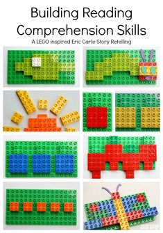 Read and Build with this awesome learning activity LEGO inspired story retelling of The Very Hungry Caterpillar. Inspired by Eric Carle see how to work on reading comprehension with your child. Retelling Activities, Lego Activities, English Activities, Lego Duplo, Legos, Lego Kits, Story Retell, Reading Comprehension Skills, Reading Skills