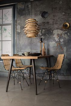 Add a natural element to your interior with the Dutchbone Kubu Rattan Pendant Lamp. Rattan Lampe, Rattan Dining Chairs, Dining Table, Interior Decorating, Interior Design, Beautiful Kitchens, House Design, Design Design, Living Room