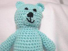 Crochet Teddy Bear Pastel Turquoise by crochetedbycharlene on Etsy, $21.00