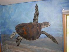 Mural Underwater Ocean Sea Turtle Stingray