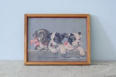Vintage 1950's Small Frame with Puppies Lithography by Pigeonatelier on Etsy https://www.etsy.com/listing/187051558/vintage-1950s-small-frame-with-puppies