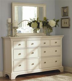 Simple dresser top accessories - +Master Bedroom - Ashby Park Dresser With 7 Drawers and Beveled Vertical Mirror by American Drew - Hudson's Furniture - Dresser & Mirror Tampa, St Petersburg, Orlando, Ormond Beach Dresser Top Decor, Dresser Mirror, Dresser Ideas, Dresser Drawers, Dresser Inspiration, Tall Dresser, Design Inspiration, White Dresser With Mirror, Dresser Decorations