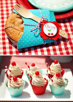 "Darling ""Cherry On Top"" Party {Red Gingham & Teal soda shoppe 'milkshake' cupcakes & mini cherry hand pies! This is an awesome party. Milkshake Cupcakes, Cherry Hand Pies, Teal Party, Cupcakes Decorados, Rockabilly Wedding, Red Gingham, Gingham Party, Retro Party, 50th Party"