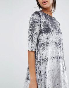 Image 3 ofMango Crushed Velvet Shift Dress