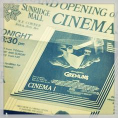 """Another #tbt post: #SunridgeMall's grand opening of the #FamousPlayers cinema developed by the Dobbin-Cochrane Group in 1984 featured the genre film classic """"Gremlins"""". The Sunridge development was one of many shopping centre projects that the DCG worked on in the 80's. Read more at www.developcalgary.com #yycre"""