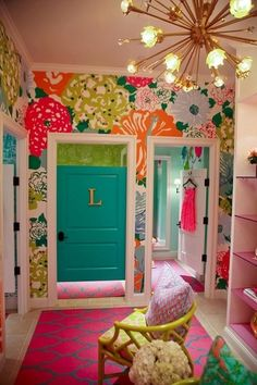 Teen Dream Closet! Bright floral wallpaper, pink and gray Moroccan tile print rug, wild gold chandelier. Awesome!