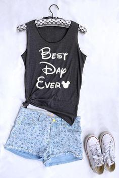964c84f3b7fa Best day ever Mickey tank top. Disney tank. Disney tshirt. Tee Tops. Disney  tank. Disney family shirts. Disney shirt. Mickey mouse shirt