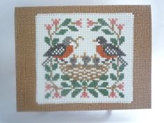 The Robin Family hand stitched card by HMCrafters on Etsy