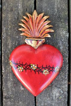 Hand Carved & Painted Wood Flaming Sacred Heart, Folk Art Michoacán Mexico Love