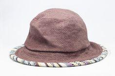 民族風手織棉麻漁夫帽 / 遮陽帽 / 草帽 / 登山帽 - 咖啡色圖騰拼布 ( 限量一件 )