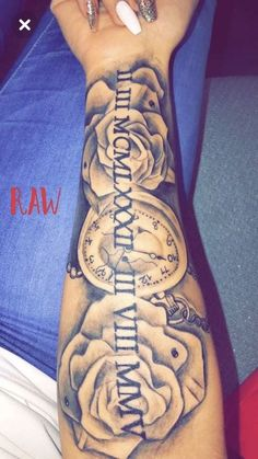 long nails, blue jeans, roses and a pocket watch, roman numeral tattoos on arm If you are looking to commemorate an important date in your life, roman numeral tattoo is your best option. Browse through 85 examples and choose your own. Mini Tattoos, Sexy Tattoos, Unique Tattoos, Body Art Tattoos, Cool Tattoos, Flower Tattoos, Dope Tattoos For Women, Tattoo Drawings, Rosen Tattoo Frau