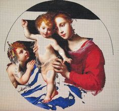 Virgin and Child with the Infant Saint John the Baptist – sewing period John The Baptist, Handicraft, Hand Embroidery, Infant, Saints, My Favorite Things, Sewing, Romania, Children