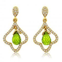 Peridot Briolette and diamond dangle earrings set in 14K yellow gold (matching pendant available) www.singingjeweler.com