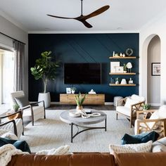 Another beautiful project for the books! I love this room. I love the colors and the rich wood tones that we incorporated. Teal Living Rooms, Home Living Room, Living Room Designs, Living Room Decor, Living Spaces, Blue And Green Living Room, Accent Walls In Living Room, Transitional Living Rooms, Living Room Inspiration