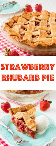 A delicious flaky pie crust paired with a sweet and tangy strawberry rhubarb filling. See how easy it is to make this tasty and gorgeous lattice pie. Best Dessert Recipes, Fun Desserts, Delicious Desserts, Dessert Ideas, Healthy Recipes, Strawberry Rubarb Pie, Strawberry Recipes, Pastry Recipes, Pie Recipes