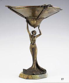 Art Nouveau Bronze Figure of a Woman Holding a Bowl