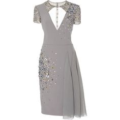 Georges Hobeika Cut Out Cocktail Dress ($4,425) ❤ liked on Polyvore featuring dresses, light grey, cutout mini dress, light gray dress, sequin cocktail dresses, cut-out dresses and sequin mini dress