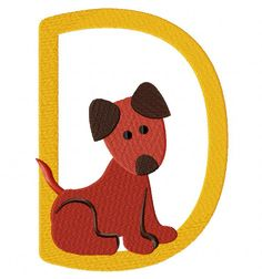 D for dog  EmbroiderOcean Design