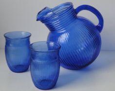 1930 Cobalt Blue Depression Glass Tilt PIitcher and 2 Tumblers