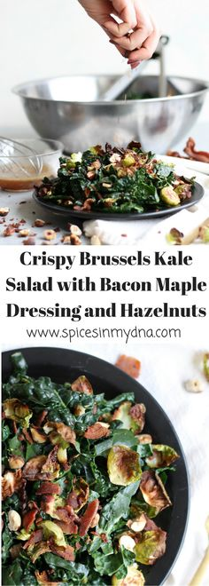 Crispy Brussels Kale Salad with Bacon Maple Dressing and Toasted Hazelnuts