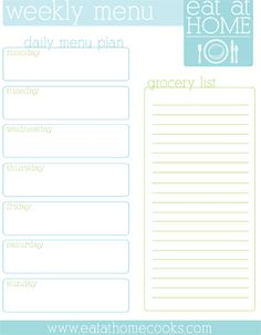 Free printable menu planner with space for your menu and your grocery list.