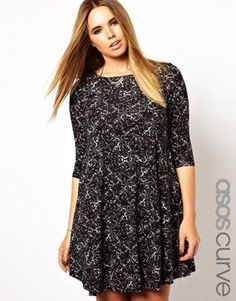 Image 1 ofASOS CURVE Exclusive Swing Dress In Marble Print