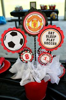 This year my son wanted a Manchester United Soccer Party. Its not that easy to find Manchester United Soccer supplies in the US, so I h. Soccer Centerpieces, Banquet Decorations, Party Centerpieces, Centerpiece Ideas, Banquet Ideas, Soccer Birthday Parties, Soccer Party, Soccer Ball, Liverpool