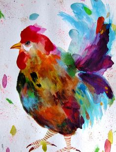 Rooster Painting Chicken Art Rooster Wall Art Rooster Fine Art Bird Watercolor…
