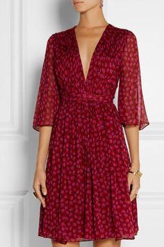 Printed Silk-Georgette Wrap Dress, Diane von Furstenberg