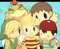 Toon Link, Lucas, Ness, Bowser Jr. and Villager.
