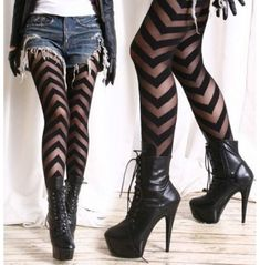 Details about Party Club Runway Chic Punk Chevron V Ribbon Stripe Sheer Opaque Fashion Tights - Nylons / Leggings 3 - Punk Pastel Outfit, Chic Punk, Grunge Look, 90s Grunge, Grunge Style, Soft Grunge, Grunge Outfits, Opaque Tights, Sheer Tights
