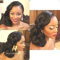 Wedding Hair Styles for Black women - Reny styles Black Brides Hairstyles, Black Bridesmaids Hairstyles, African Wedding Hairstyles, Night Hairstyles, Elegant Hairstyles, Formal Hairstyles, Bride Hairstyles, Vintage Wedding Hair, Wedding Hair Down