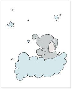 Elephant Nursery Art Blue and Grey Nursery Decor Set of