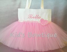 Tutu Tote Bag with Pink Heart and Sequins by kidsbowtique on Etsy