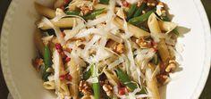 Pennes de blé entier, aux haricots verts, à la pancetta et aux noix Recettes | Ricardo