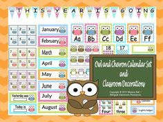 Owl and Chevron Calendar Set and Classroom Decorations from Bilingual Resources on TeachersNotebook.com (176 pages)