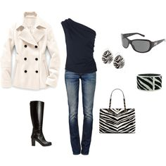 This outfit reminds me of the zebra striped beaded bracelets I wear with my Zebra print peep toe wedges.