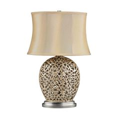 Serene Table Lamp In Pearlescent Cream With Light Beige Shade - D2168