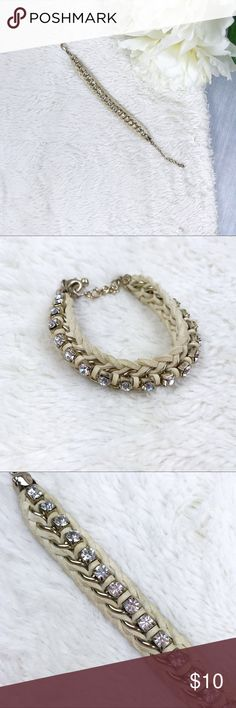 Braided Leather & Rhinestone Bracelet Braided Leather & Rhinestone Bracelet Great Used Condition!  Measurements: - 10 in. x .75 in.   MAKE AN OFFER!!! Jewelry Bracelets