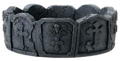 Dark Color Tone Tombstone Ashtray with Skull and Cross Designs * Awesome product. Click the image : Decor Ashtrays