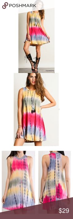 HP Tie Dyed Festival Swing Tunic Dress S M L Tie dyed bohemian festival dress, swing tunic style, 95% Rayon/5% Spandex . Available in size Small,  Medium, or Large. No Trades, Price Firm unless Bundled.  BUNDLE 3 OR MORE ITEMS FOR 15 % OFF. Boutique Dresses Mini