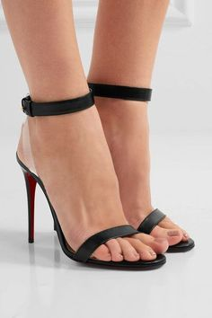 Heel measures approximately 100mm/ 4 inches Black leather, clear PVC Push stud-fastening ankle strap Made in Italy