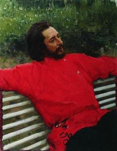 'Portret van de schrijver Leonid Andrejev', 1905 / Ilja Repin (1844-1930) / Museum van Schone Kunsten, Omsk, Rusland.