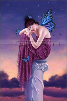 Sunset ~ Blue and Purple Monarch Butterfly Fairy ~ Art by Rachel Anderson ~ http://silverstars.us