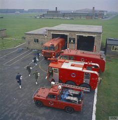 Ground trades at RAF Scampton, home of the Scampton Wing consisting of No 27 Squadron. No 83 Squadron and No 617 Squadron. The units of the Scampton Wing all fly the Avro Vulcan bomber, one of the V Bomber force providing Britain's nuclear deterrent. The members of the RAF Fire and Rescue Squadron based at RAF Scampton scramble to their vehicles.