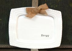 Happy Platter with Burlap Bow
