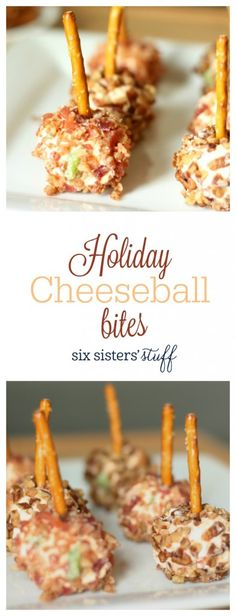 Holiday Cheeseball bites appetizer from @sixsistersstuff | These Holiday Cheeseball Bites are the perfect appetizer for any of your holiday parties. They are sure to please even the pickiest cheeseball lovers.