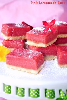 Pink Lemonade Bars: A fun twist on the classic lemon bar. (1) From: US Masala (2) Webpage has a convenient Pin It Button