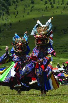 Tibetan Buddhist Monk Cham Dancers at Festival